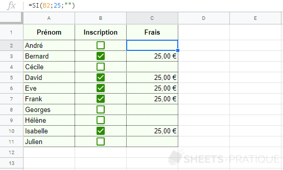 google sheets cases a cocher fonction si case