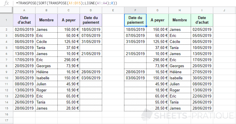google sheets plage inversion colonnes transpose sort inverser horizontalement