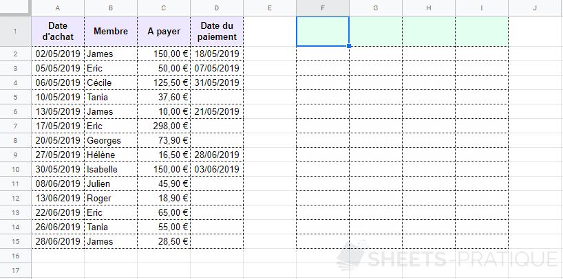 google sheets tableau a copier inverser horizontalement plage