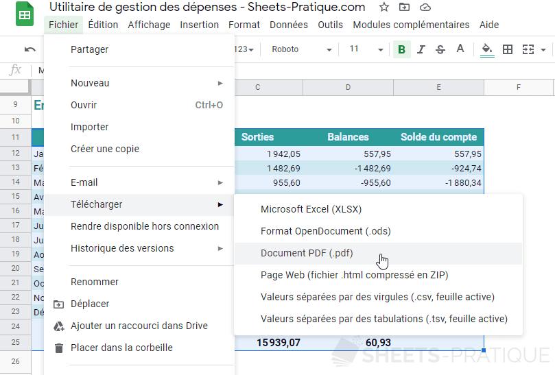 google sheets tableau selection exporter pdf