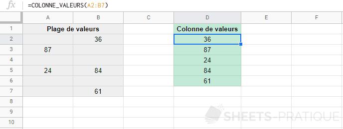 google sheets fonction colonne valeurs