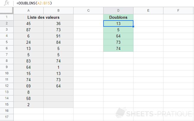 google sheets fonction doublons
