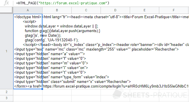 google sheets fonction code html site internet page