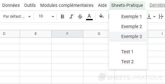 google sheets menu personnalise separateur