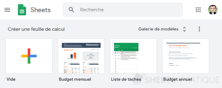 accueil google sheets demarrer