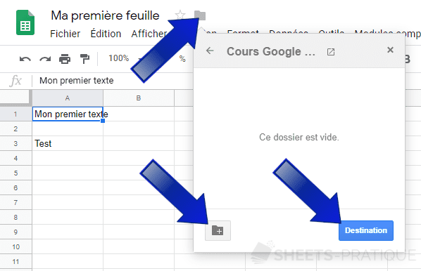 google sheets deplacer dossier feuille