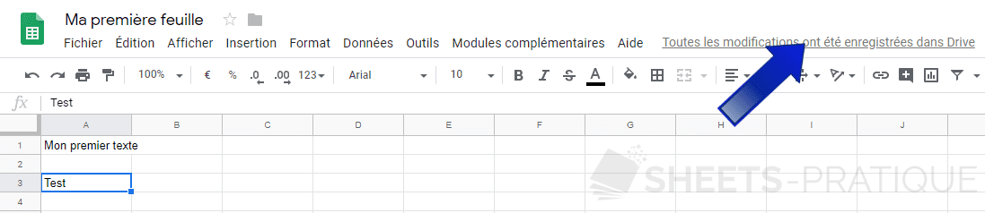 google sheets enregistrement png feuille