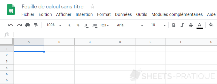 google sheets feuille calcul vierge
