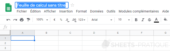 google sheets feuille renommer