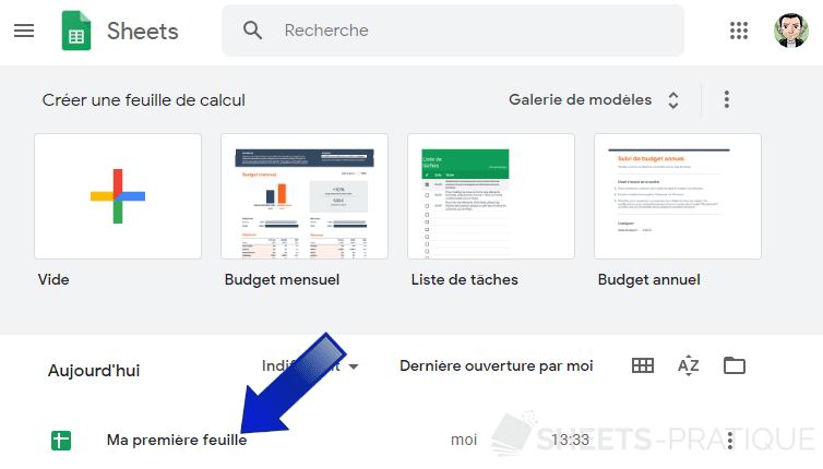 google sheets home feuille