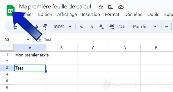 google sheets retour accueil feuille