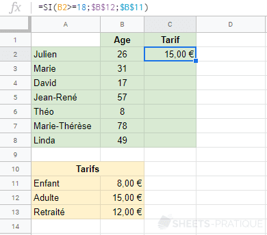 google sheets fonction 3 tarifs si imbriquee
