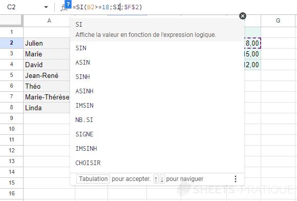 google sheets fonction si imbrique imbriquee