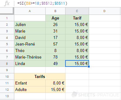 google sheets fonction tarifs si imbriquee