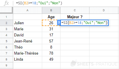 google sheets fonction si condition age