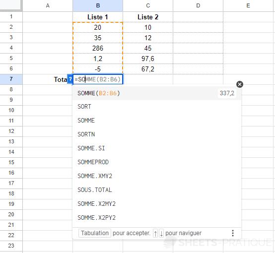 google sheets ajouter fonction fonctions