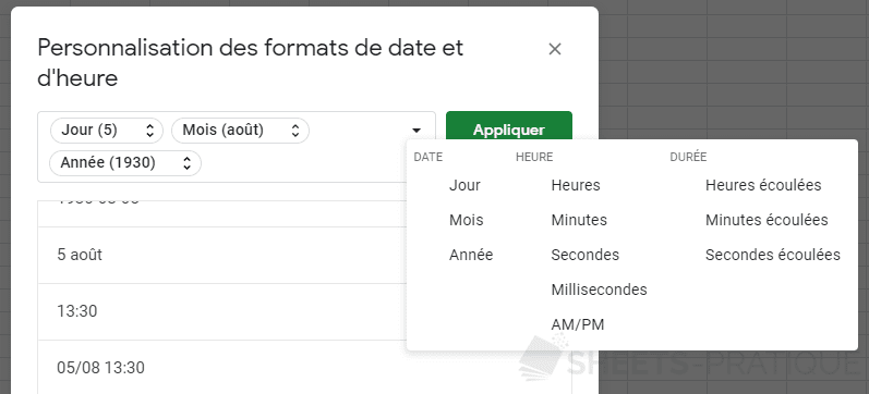 google-sheets-format-dates-heures-personnalisees - format-dates