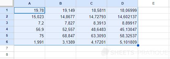 google sheets nombres format