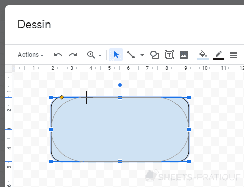 google sheets angles forme formes
