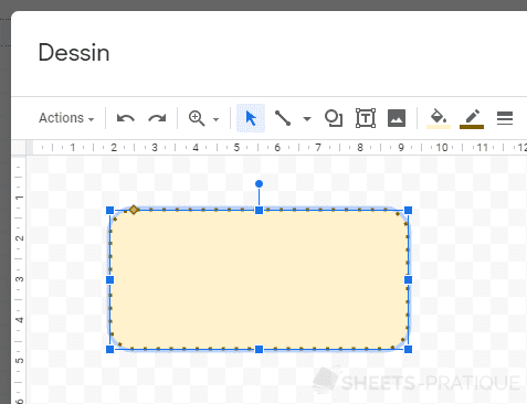 google sheets couleur forme formes
