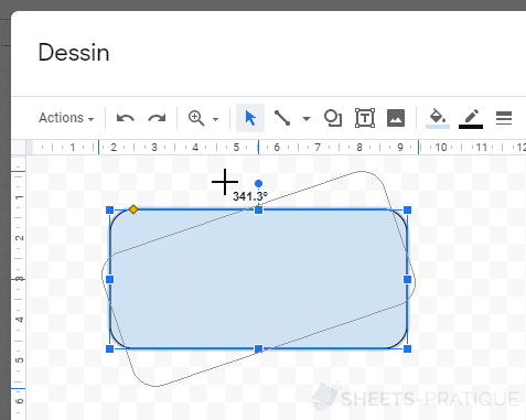 google sheets rotation forme formes