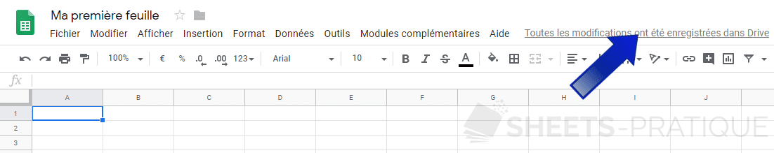 google sheets historique versions png importer exercice