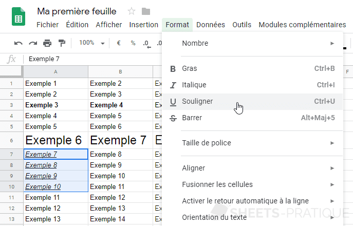 google sheets texte souligne manipulations 2