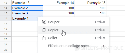 google sheets copier cellules manipulations 4