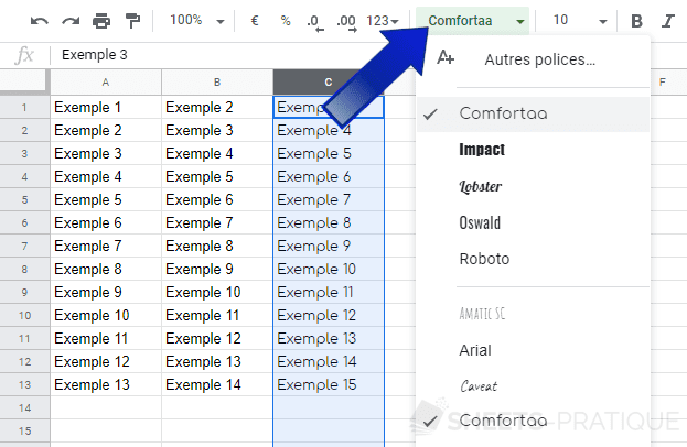 google sheets modifier police manipulations