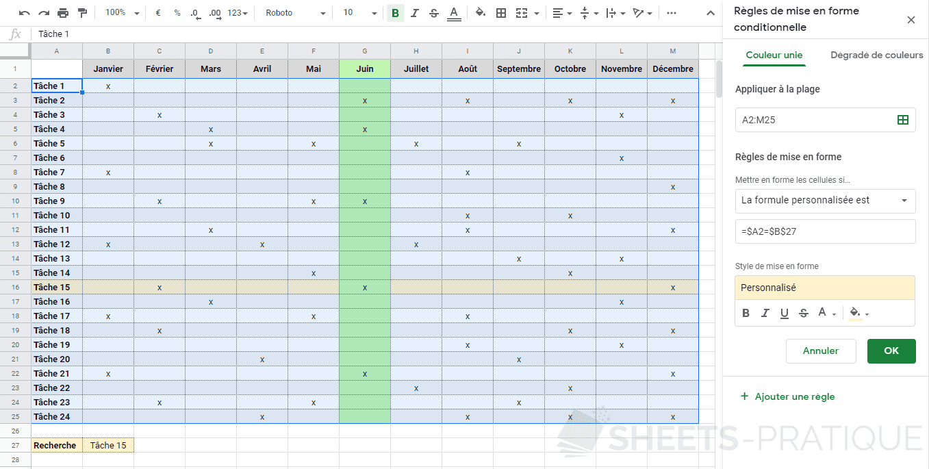 google sheets mise en forme conditionnelle planning mensuel personnalisee