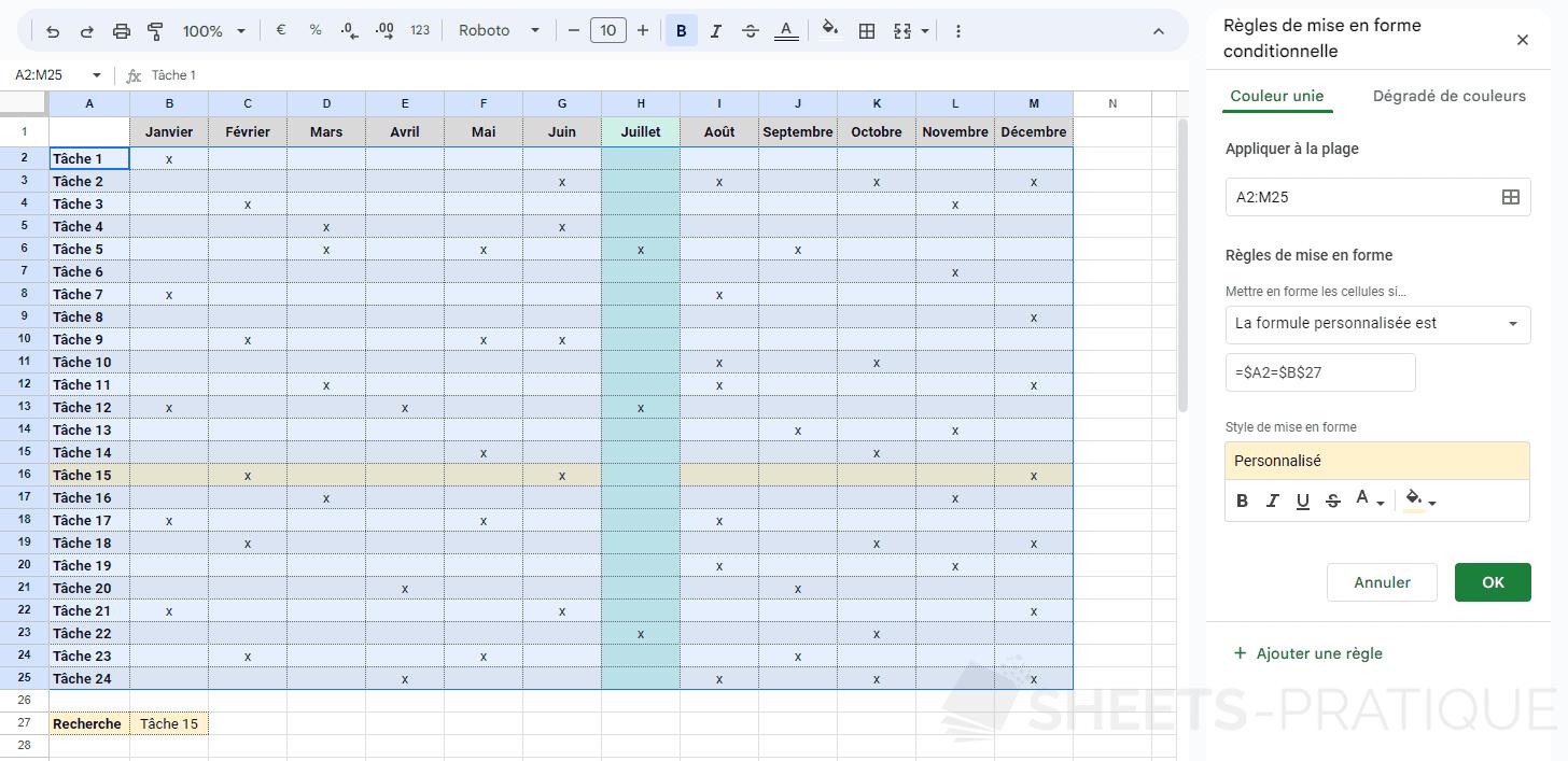 google sheets mise en forme conditionnelle planning mensuel png personnalisee