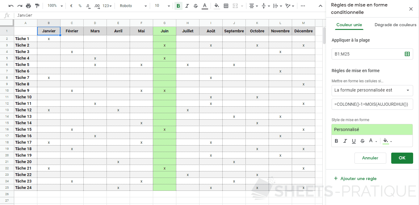google sheets mise en forme conditionnelle planning mois personnalisee