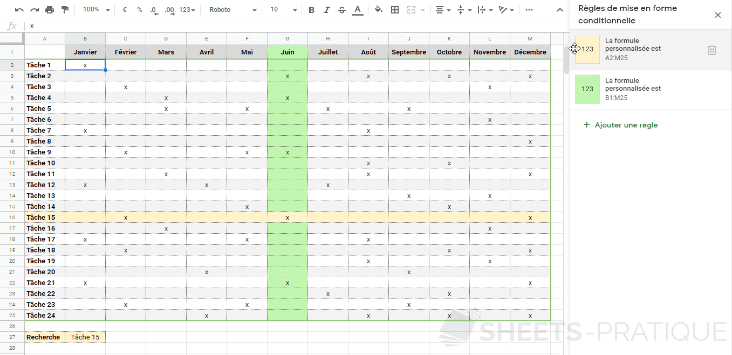 google sheets mise en forme conditionnelle planning tache png personnalisee