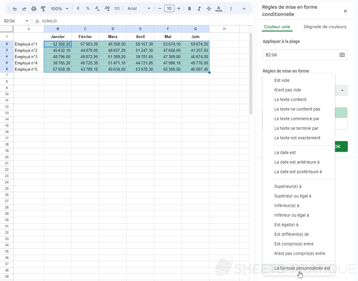 google sheets mise en forme conditionnelle personnalisee png