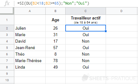 google sheets fonction si ou operateurs comparaison