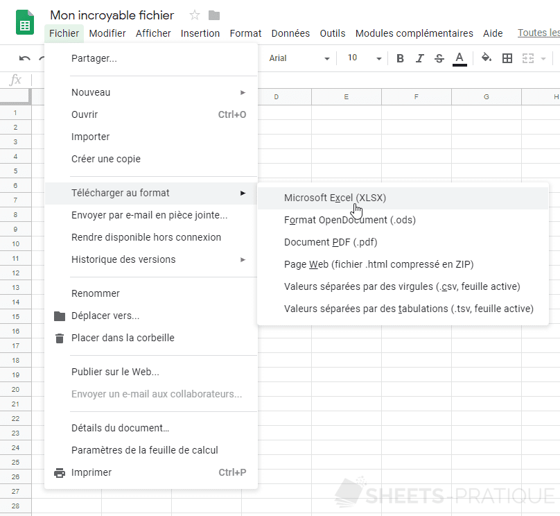 google sheets exporter partage