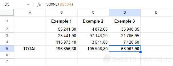 google sheets recopie fonction somme formule