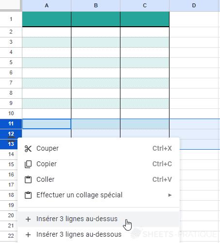 google sheets inserer lignes tableaux exercice