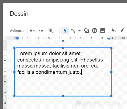 google sheets dessin zone texte