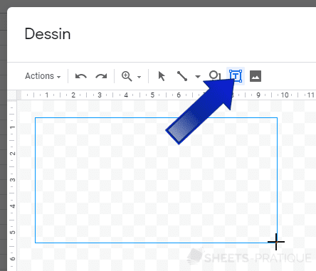 google sheets inserer zone texte