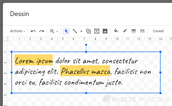 google sheets insertion zone texte