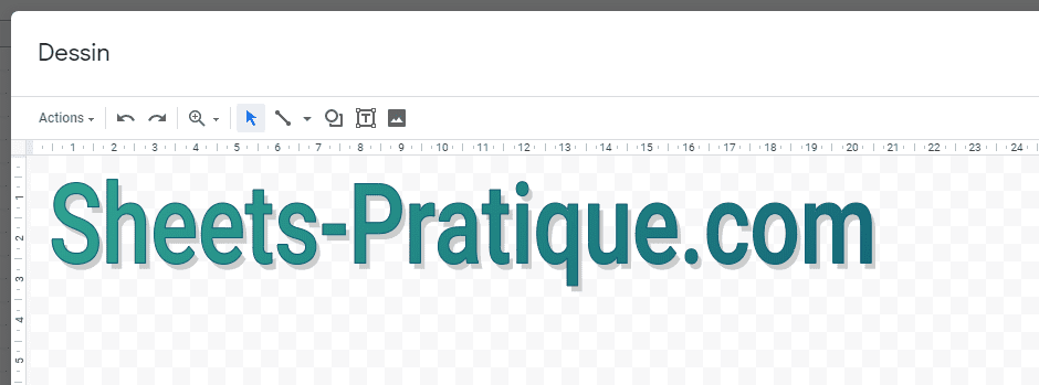 google sheets texte wordart degrade ombre