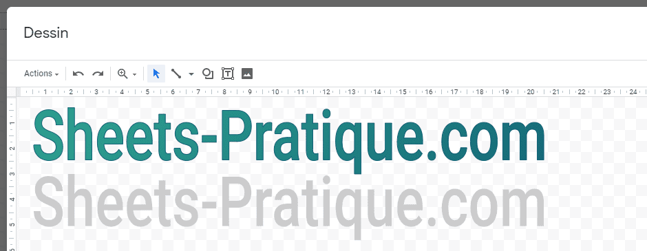 google sheets texte wordart ombre