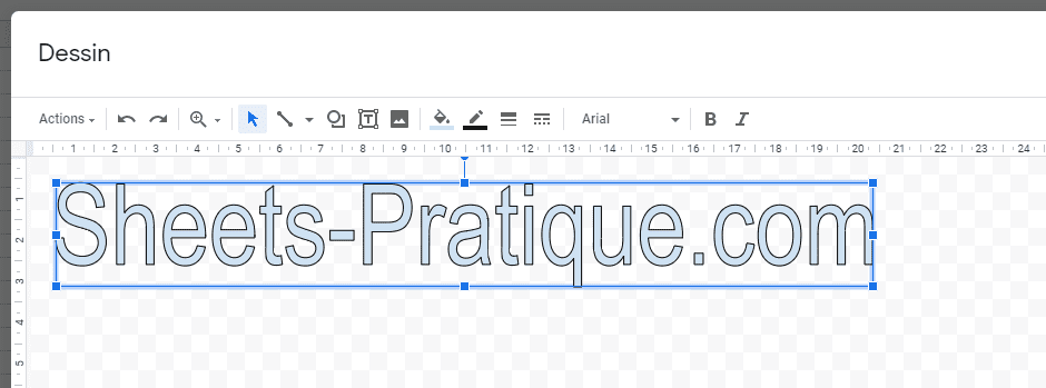 google sheets texte wordart