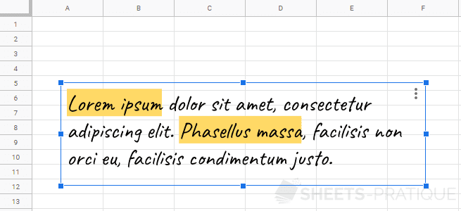 google sheets zone texte