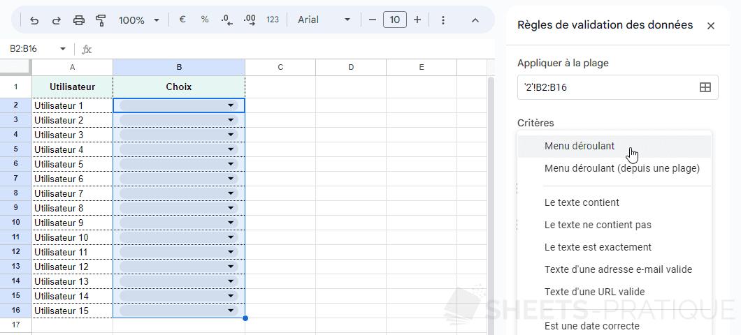 google sheets validation donnees liste png