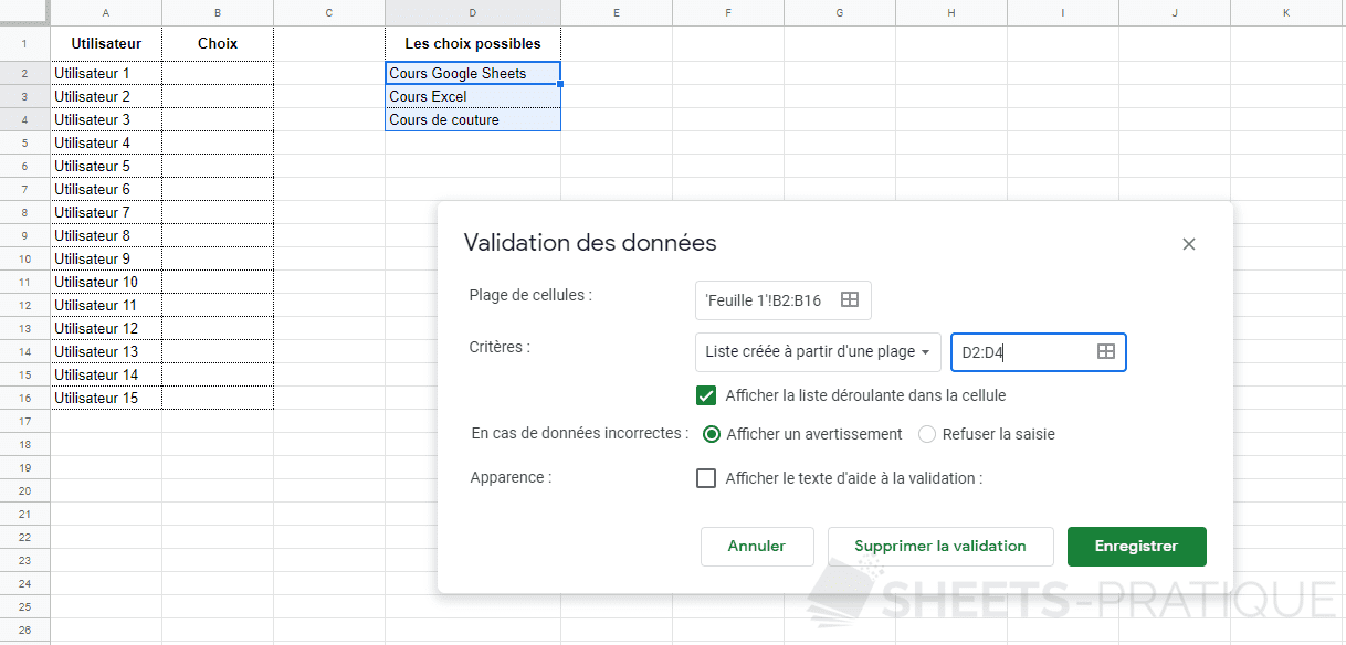 google sheets validation donnees plage png