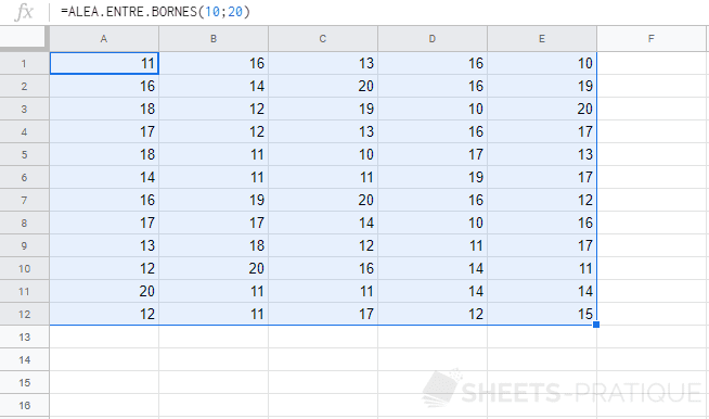 google sheets fonction alea entre bornes