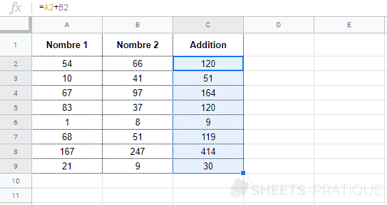 google-sheets-addition-recopie - arrayformula