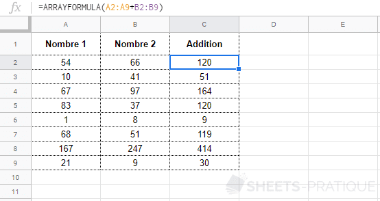google sheets fonction arrayformula exemple
